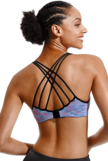 Womens Sports Bra Strappy CRIS-Cross with Medium Support Padded Workout Yoga Bras for Running Gym Athletic