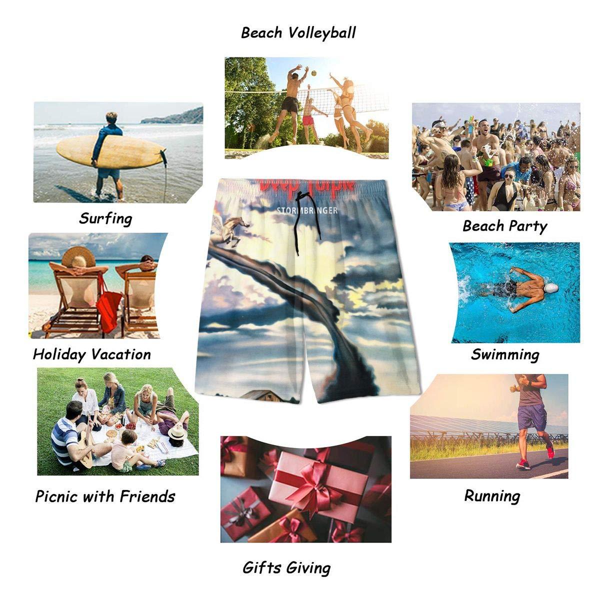 JacobKThompson Deep Purple Summer Adolescent Men Leisure Quick Dry Surfing Beach Shorts Elastic Band Pocket Drawstring