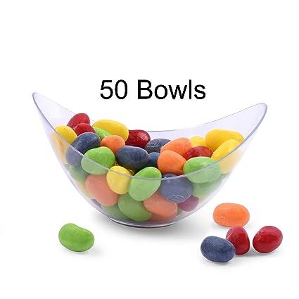 Amazoncom Zappy 50 Mini Bowls 2 Oz Clear Plastic Party Bowls Oval