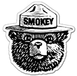 NI515 | 2-Pack Smokey Bear Decal Sticker | 4-Inches By 3.5-Inches | Premium Quality Vinyl