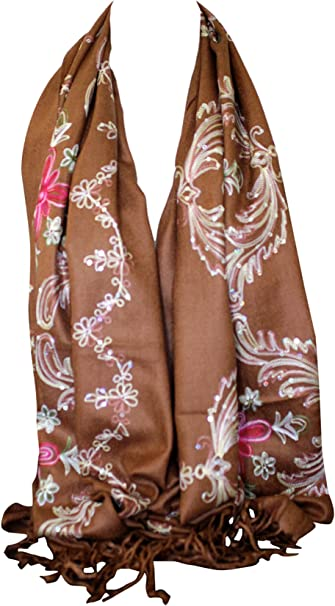 Classy Scarf Print Floral Paisley Pashmina Shawl Embroidery Stole Wrap Brown UK