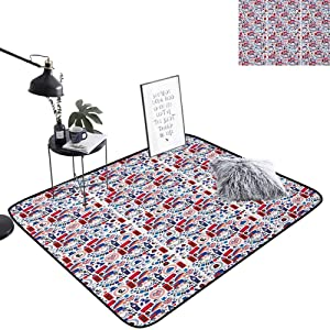 London Indoor Area Rug Pattern with London Symbols Queen Elizabeth Umbrella Tea Party Map Travel Theme Area Rug Fade and Wear Resistant for Dining Room Home Bedroom Decoration, W29 x L39 Multicolor