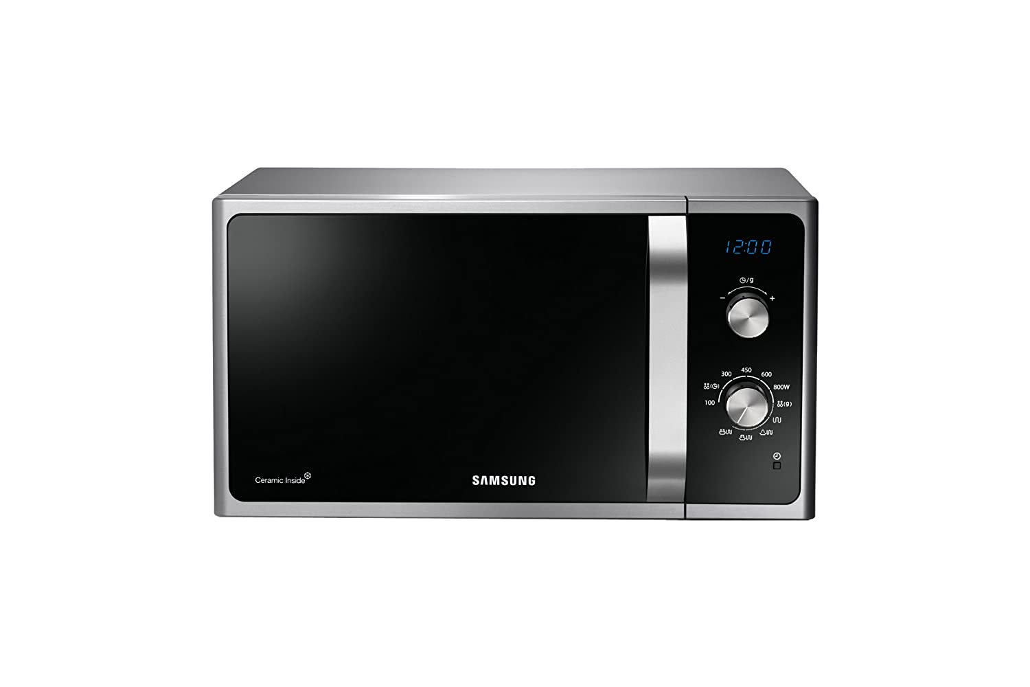 Samsung MG23F301EAS 23L 800W Acero inoxidable - Microondas (23 L, 800 W, Giratorio, Acero inoxidable, 1200 W, 490 mm): Amazon.es: Hogar