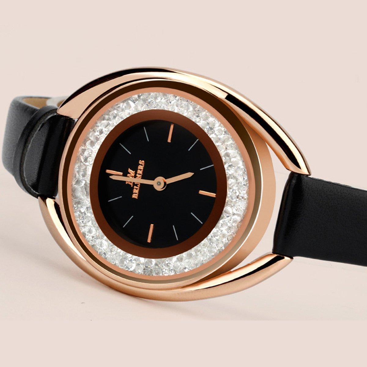Longqi 30M Waterproof Women Quartz Watch with Leather Strap Swiss Wristwatches