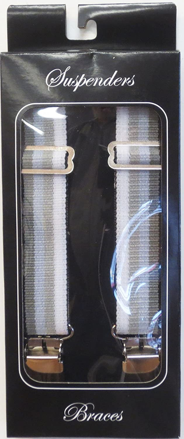 Suspender Station 1.5 Wide Suspenders Grey Ombre Stripes Heavy Duty Terry 48