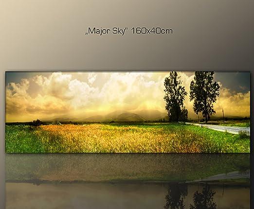 Amazon.de: Wandbild 160x40cm Natur (major_sky_160x40 Cm) Wohnzimmer Stil  Bilder Fertig Gerahmt Mit