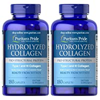 Puritan's Pride 2 Pack of Hydrolyzed Collagen 1000 mg Puritan's Pride Hydrolyzed Collagen 1000 mg-180 Caplets