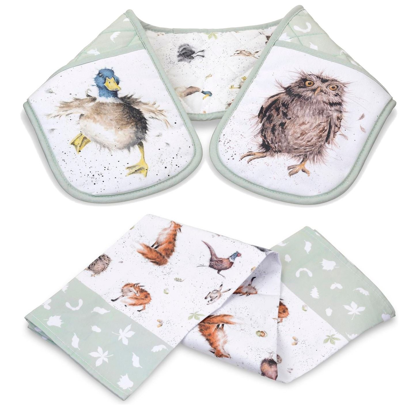 SET OF COUNTRY ANIMALS DOUBLE OVEN GLOVE & TEA TOWEL FOX BADGER OWL HARE DUCK Kitchen
