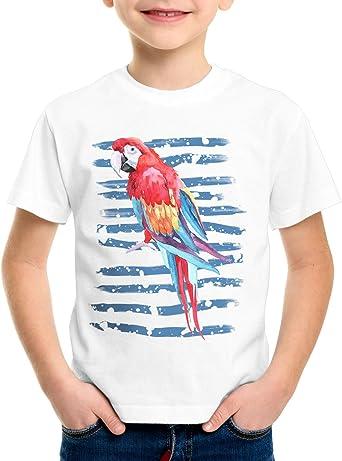CottonCloud Verano Tropical Camiseta para Niños T-Shirt Vuelo de pájaro Loro Ara guacamayos de Pecho Amarillo Aves: Amazon.es: Ropa y accesorios