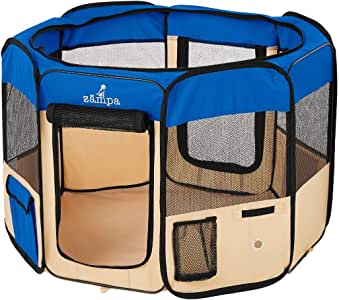 "Zampa Portable Foldable Pet playpen Exercise Pen Kennel + Carrying Case for Larges Dogs Small Puppies/Cats | Indoor/Outdoor Use | Water Resistant (Medium (45""x45""x24""), Blue)"