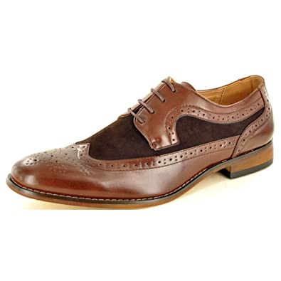 c0b37292f31 Men's Dark Brown Two Tone Leather Lined Brogue Formal Lace Up shoes ( Size  6,