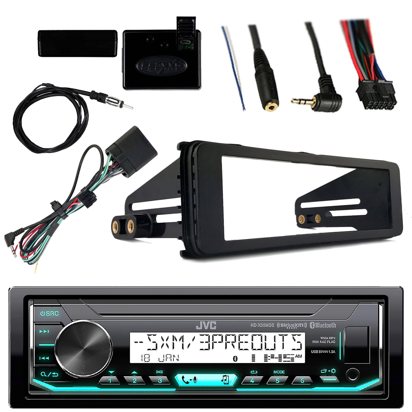 JVC Marine Radio Stereo Bluetooth Receiver Bundle with Adapter Install Dash Kit, Handle Bar Control, Enrock Wire Antenna For 1998-13 Harley Davidson Motorcycle Touring Flht Flhx Flhtc by Enrock JVC Metra
