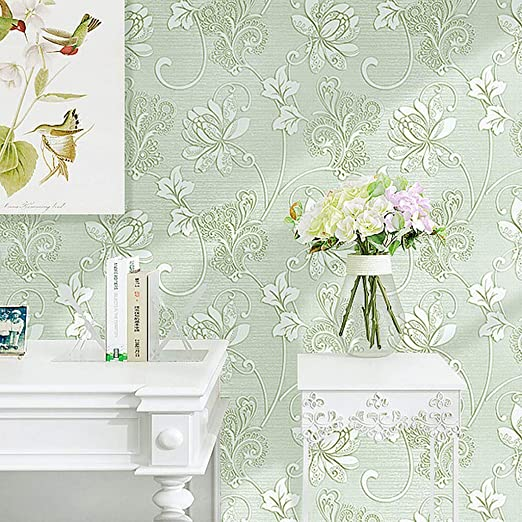 Amazon Com Zzff Damask Peel And Stick Wallpaper 3d Not Woven Self Adhesive Wall Paper Floral Embossed Wall Covering Vintage Removable Contact Paper For Living Bedroom Green 1000x53cm 394x21inch Home Kitchen