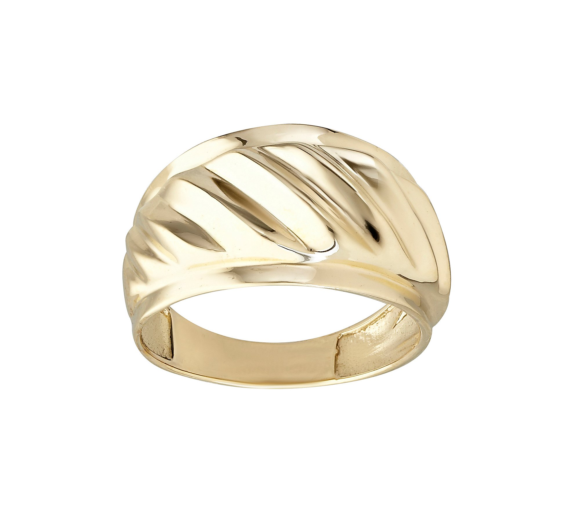 Polished Ribbed Band Ring 10K Yellow Gold
