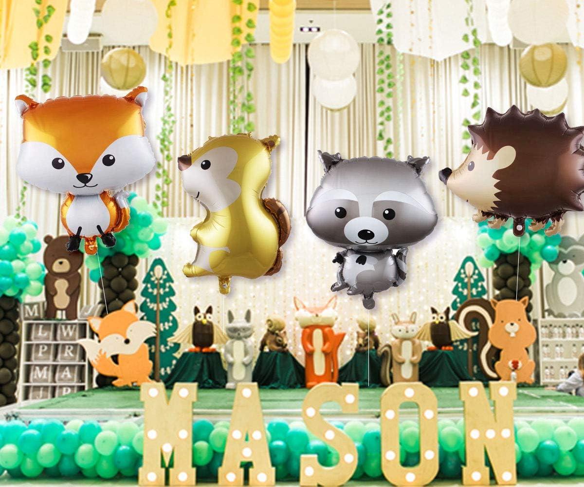 JOYMEMO Decorazioni per Feste in Legno Creature per boschi Woods Happy Birthday Banner Cake Toppers Palloncini Foil Animali per Compleanni Baby Show Forniture per Feste