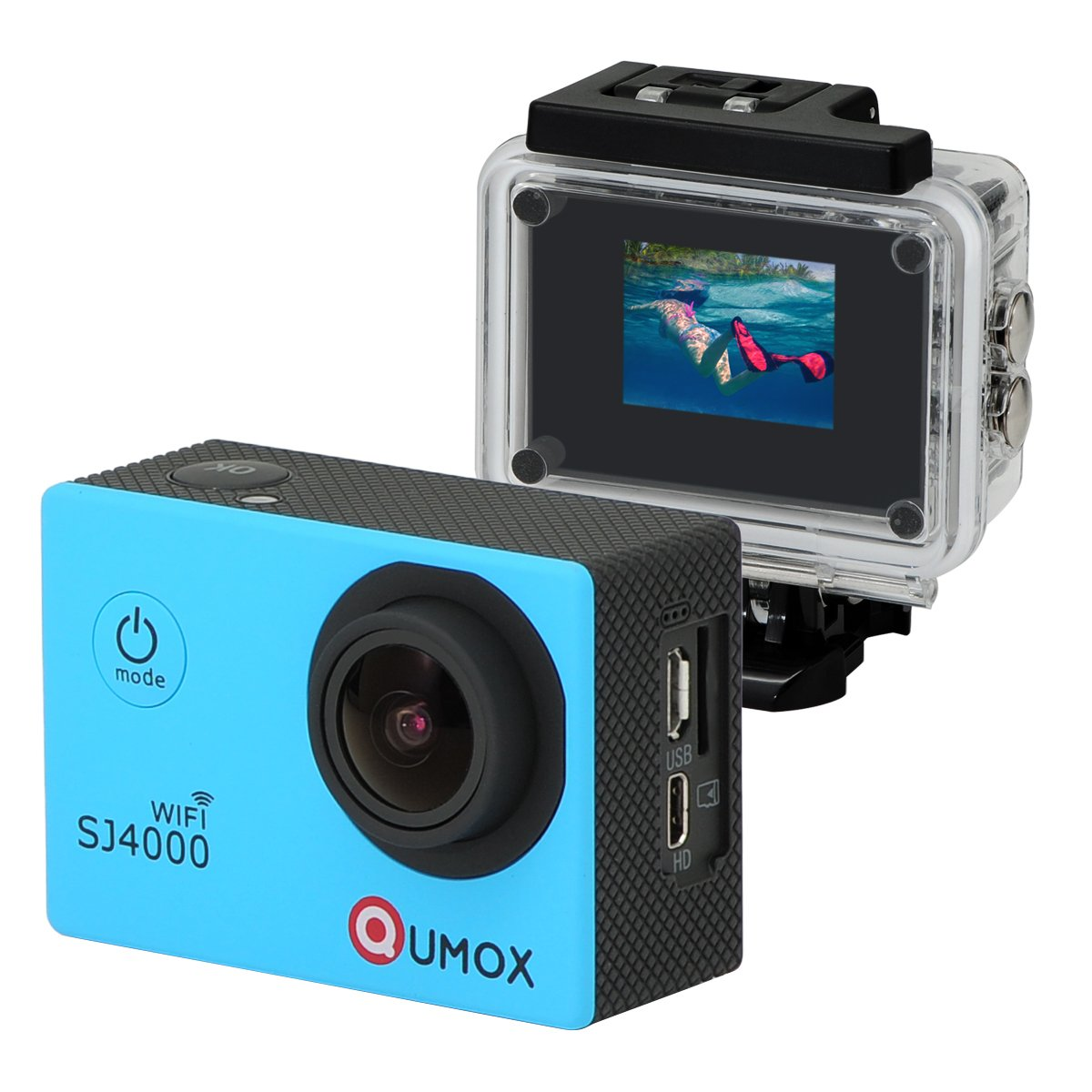 QUMOX WIFI Actioncam SJ4000 Action Sport Kamera Camera Waterproof Full HD 1080p Video Helmkamera Gelb mit Verbesserten Batterien und Zubehör Kits und Wasserdichtes Gehäuse Z035U