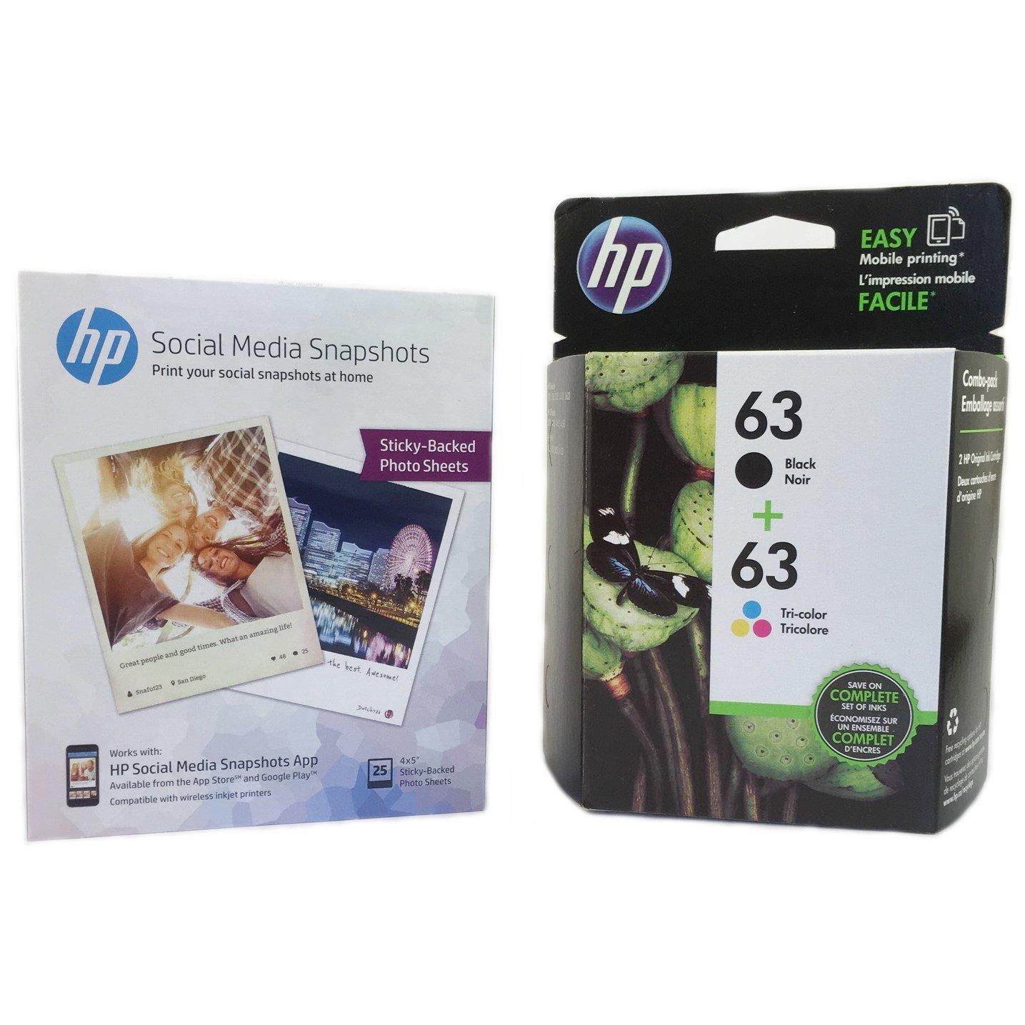 HP 63 Negro & Dreifarbige Original Tintenpatronen CON MEDIOS de unicacin Social Snapshot pepel t0 a90an Amazon Bürobedarf & Schreibwaren