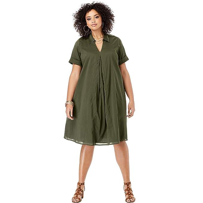Roamans Women\'s Plus Size Collared Swing Dress at Amazon ...