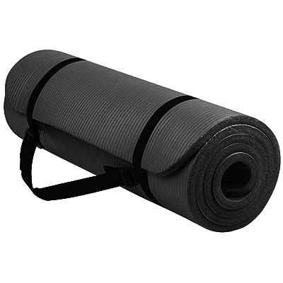 Royaume Gbtm Grande rembourré NBR Tapis de yoga en mousse avec poignée de transport pour l'exercice/Pilates/gym–Vert/Noir/Rose/Bleu/Violet