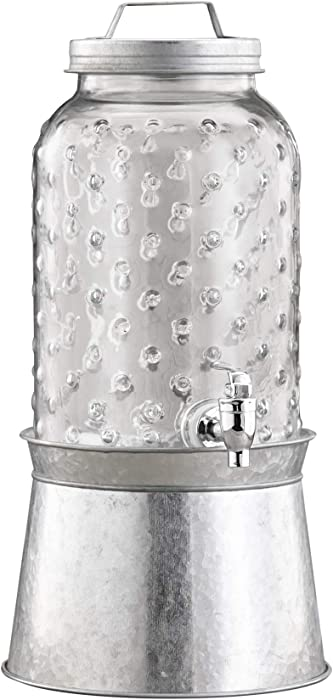 Style Setter Clark 1 Gallon Glass Beverage Drink Dispenser with Galvanized Base & Lid, 7.75x11, silver
