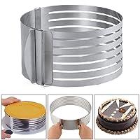 AllRight Edelstahl Tortenring Schneidehilfe Layered Schneide Kuchen Ring Backform Backrahmen Kuchenring Verstellbar 8.5cmh