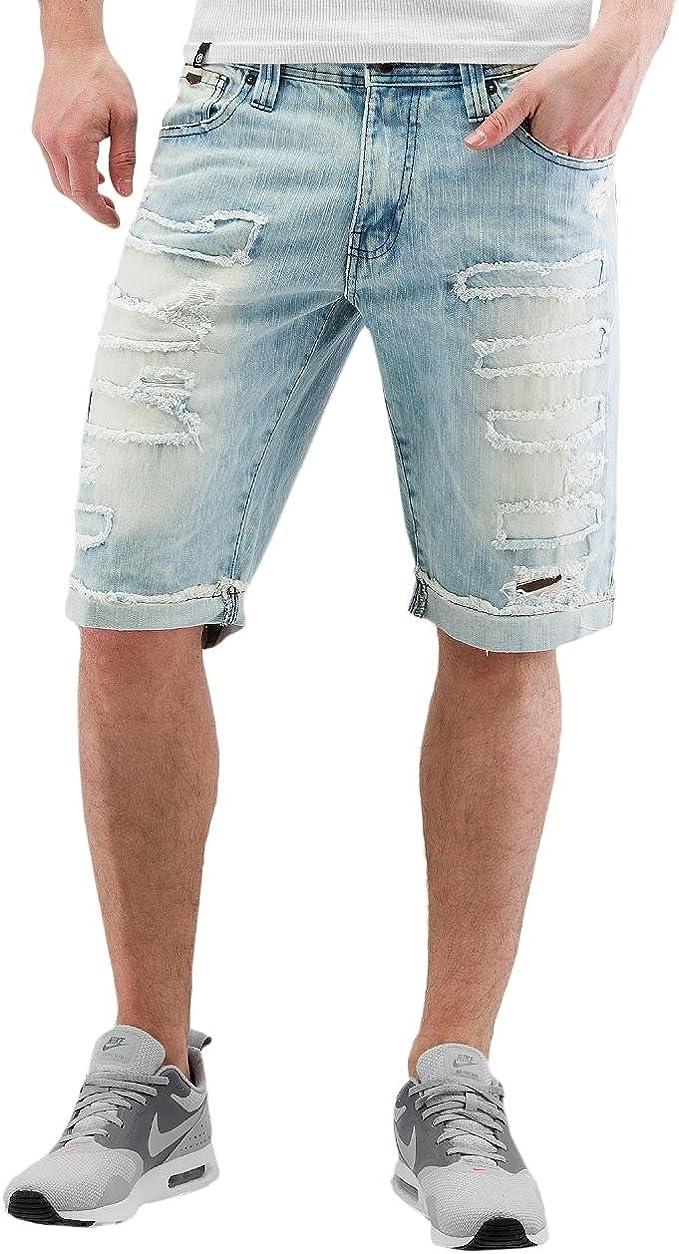 Dark Vintage Zipper Southpole Mens Fashion Denim Biker Shorts 36