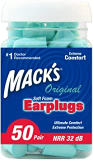 product image for Mack's Original Soft Foam Earplugs, 50 Pair - 32dB Highest NRR, Comfortable Ear Plugs for Sleeping, Snoring, Work, Travel & Loud Events, Teal Green