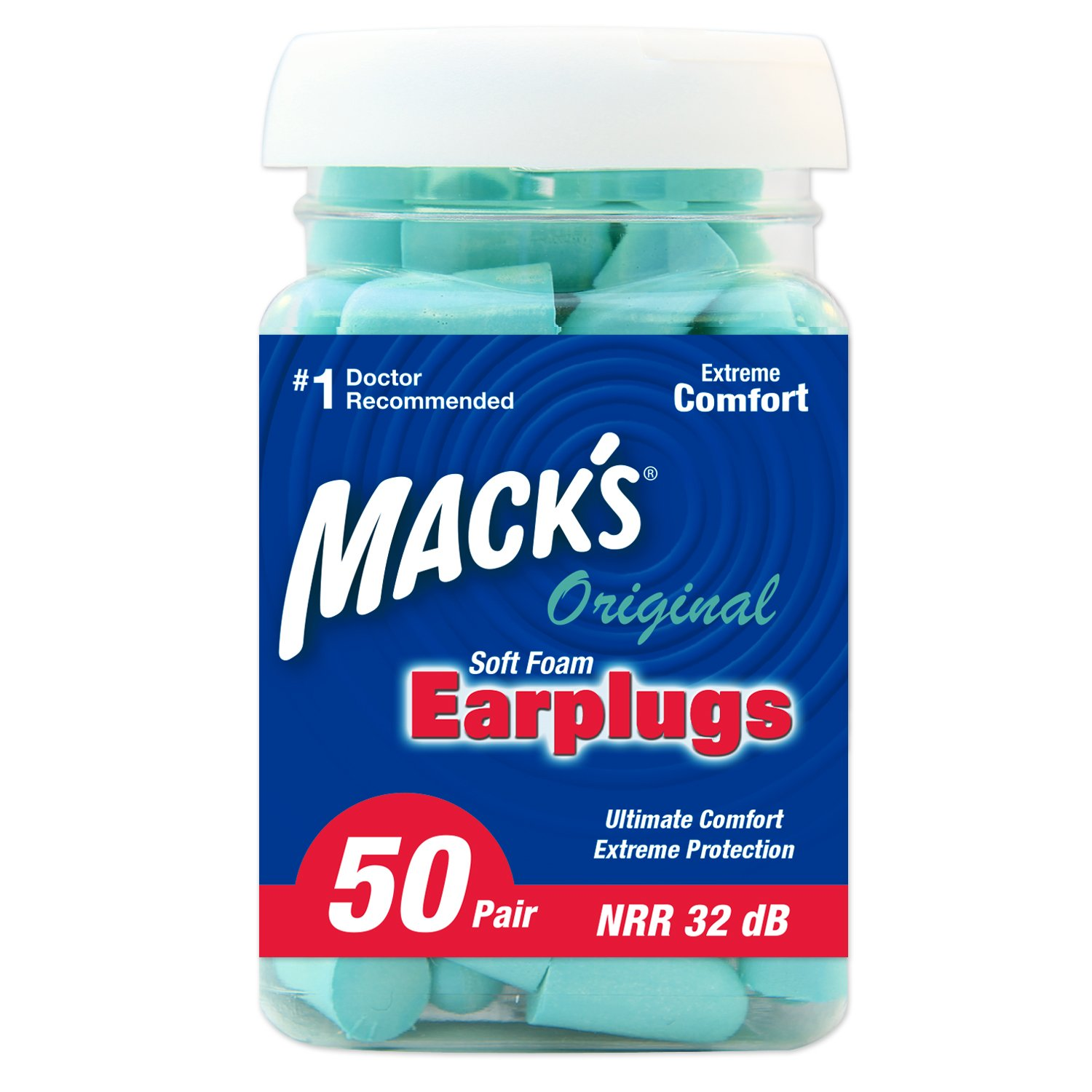 Mack's Original Soft Foam Earplugs, 50 Pair - 32dB Highest NRR, Comfortable Ear Plugs for Sleeping, Snoring, Work, Travel and Loud Events