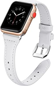 Secbolt Leather Bands Compatible Apple Watch Band 38mm 40mm Iwatch Series 6 5 4 3 2 1 SE Slim Replacement Wristband Strap Stainless Steel Buckle, White