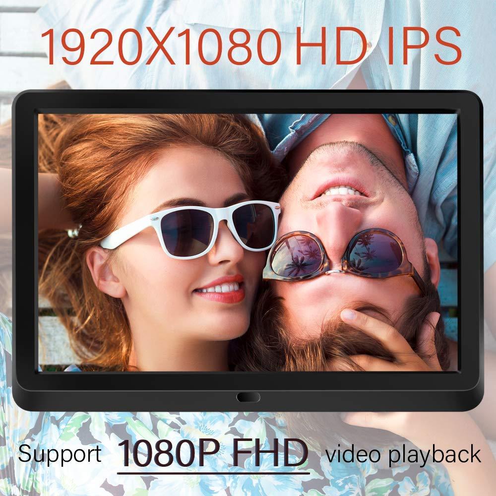 NAPATEK 10 Inch Digital Picture Frame 16:9 1920x1080 IPS Display Digital Photo Frame 1080P HD Video Playback Music Calendar Alarm Remote Control Support 128G SD-Black