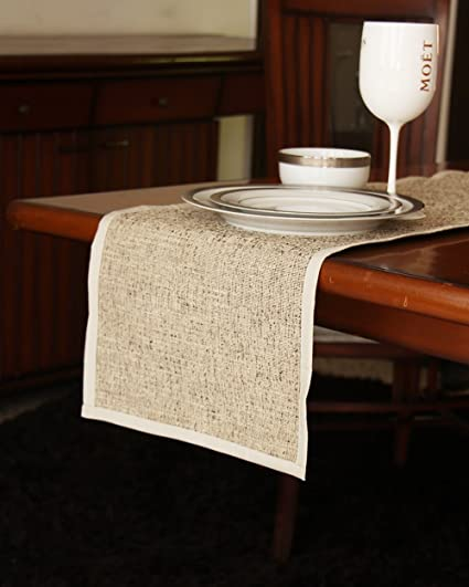 S9Home By Seasons Beige & White Plain Table Runner 72X12 Inch