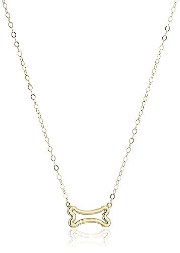 Amazon 14k yellow gold dog bone pendant necklace 17 jewelry 14k yellow gold dog bone pendant necklace 17quot aloadofball Images