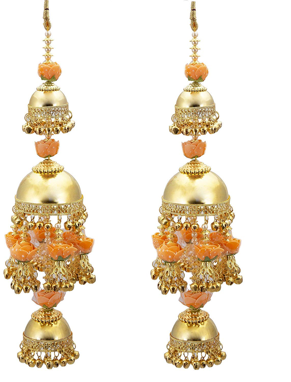 Kalire in Peach Flowers and Gold Plated for Women