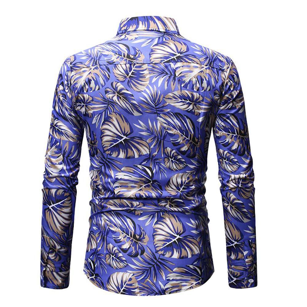 SANHION Mens Long Sleeve Luxury Design Feather Print Dress Shirt