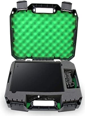 Casematix Green Travel Case Fits Xbox One X 1tb Enhanced 4k HDR Gaming Console, Controller, Cables and Games with Impact Resistant Shell