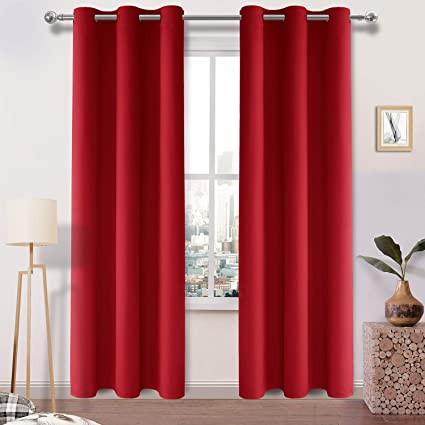 DWCN Red Blackout Curtains Room Darkening Thermal Insulated Thick Curtains  for Bedroom Living Room Privacy Drapes Grommet Top Window Curtain Panel 42  ...