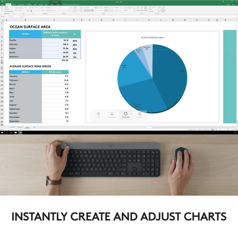 QWERTY Logitech Craft Clavier sans Fil pour Windows Anglais Mac avec Molette de Contr/ôle Contextuel pour un Contr/ôle Cr/éatif et Productif