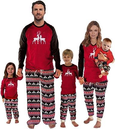 Conjunto de Pijamas Familiares de Navidad Manga Larga Familia Juego Homewear Copo de Nieve Ciervos Impresión 2 Piezas Ropa de Dormir para Papá Mamá y ...