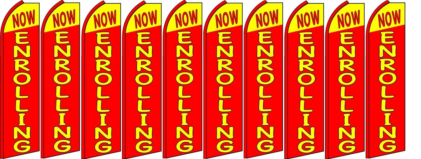 Now Enrolling King Swooper Feather Flag Sign Pack of 10 Hardware not Included