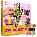 DIY String Art With Lights.String Art Kit to Make DIY Wall Decor Butterfly, Peace Sign & Lightning Bolt with LED Fairy Lights