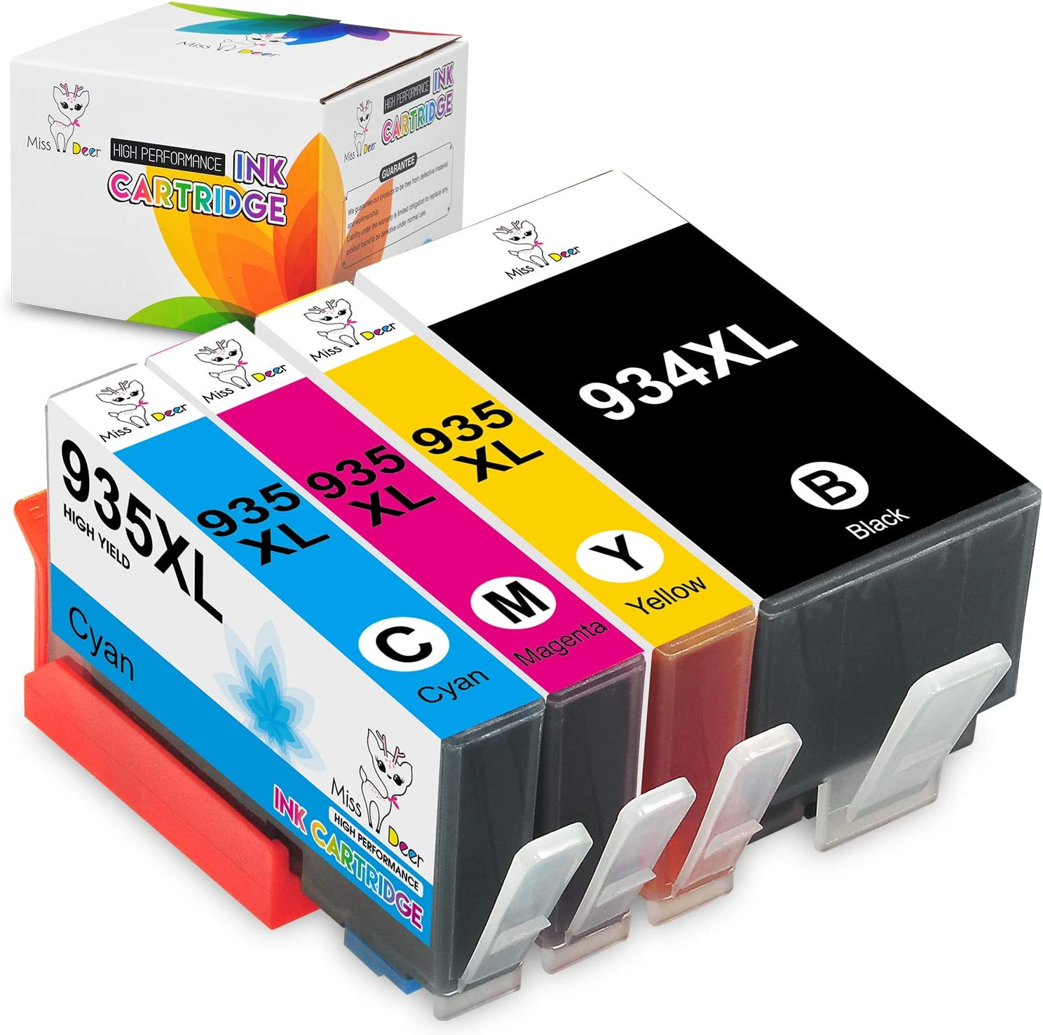 Miss Deer Compatible Ink Cartridge Replacement for 934XL 935XL Work with Officejet 6812 6815 6820 6825 Officejet Pro 6230 6830 6835 Printer (1 Black, 1 Cyan, 1 Magenta, 1 Yellow) 4 Pack
