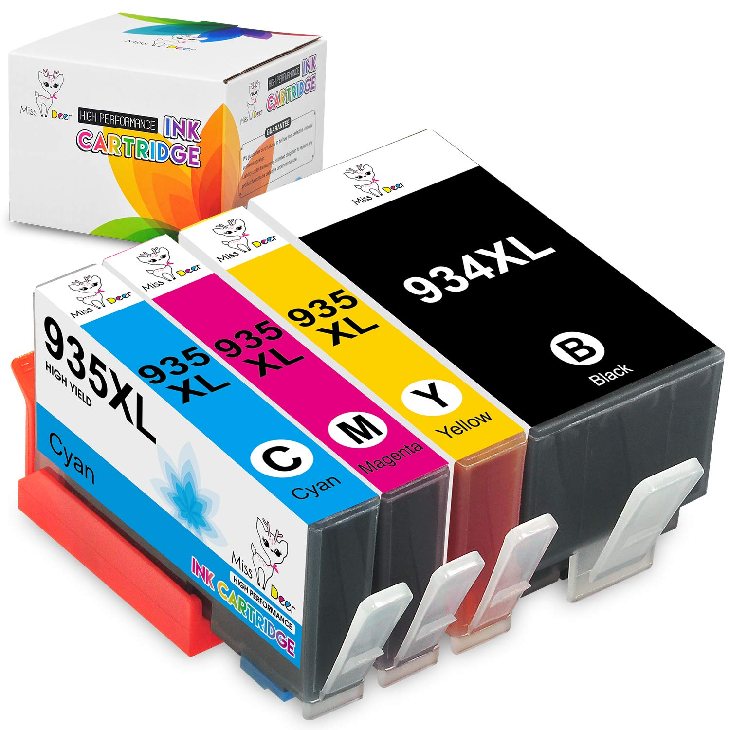 Miss Deer Compatible Ink Cartridge Replacement for 934XL 935XL Work with Officejet 6812 6815 6820 6825 Officejet Pro 6230 6830 6835 Printer (1 Black, ...