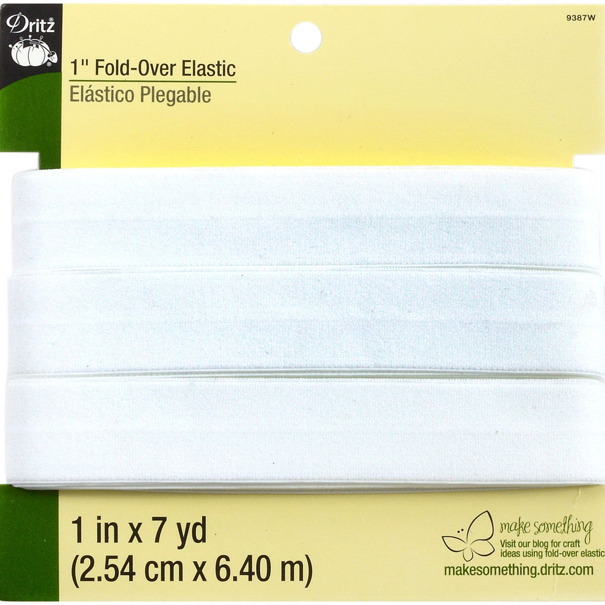 White Dritz 9487W Fold-Over Woven Elastic 1-Inch by 24-Yard