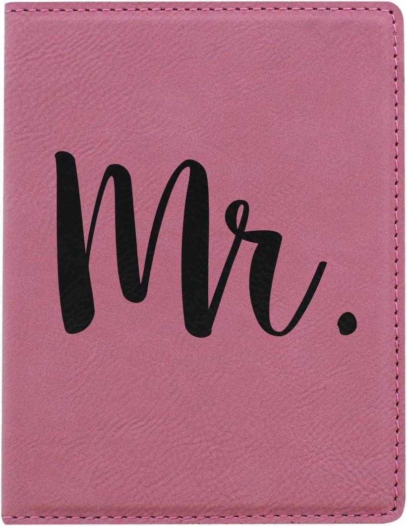 Travel Honeymoon Gifts Mr. Passport Holder Pink Laser Engraved Leatherette Passport Holder Pink Mr