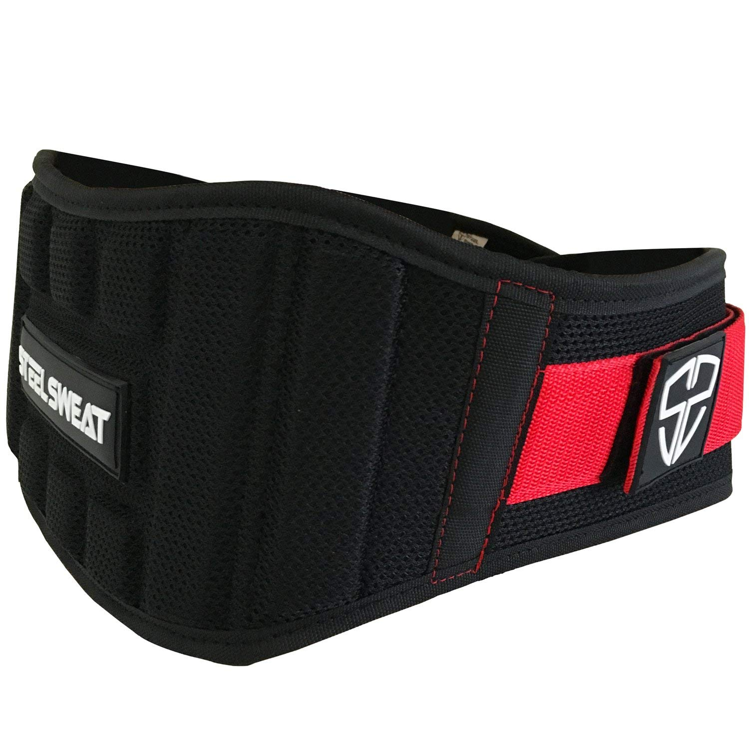 Steel Sweat Weight Lifting Belt - Nylon 6-inch Firm & Comfortable Back Support, Best for Workouts at The Gym, Weightlifting or Crossfit. Easily Adjustable Viper Redback Large