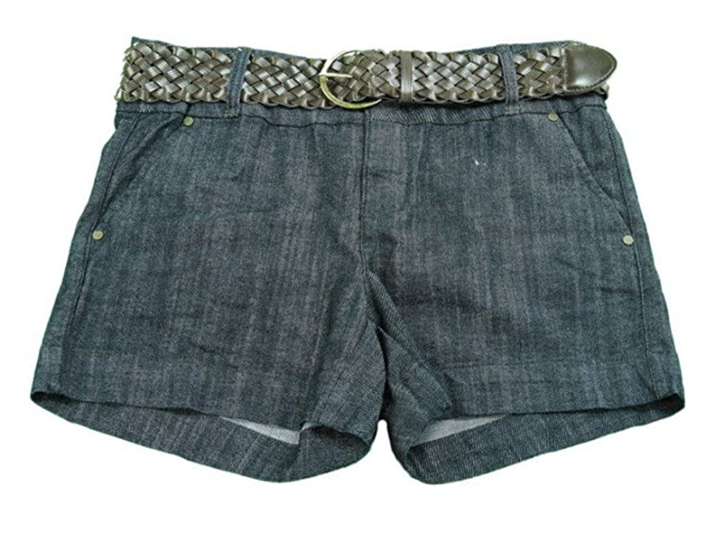 One 5 One Ladies Authentic Denim Shorts with Braided Belt Rinse/Walnut