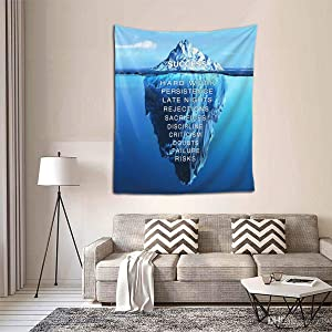 Dominic Art Tapestry Success Inspiration Motivation Iceberg Wall Hanging Tapestries for Living Room Bedroom Home Decor 51x60 Inches