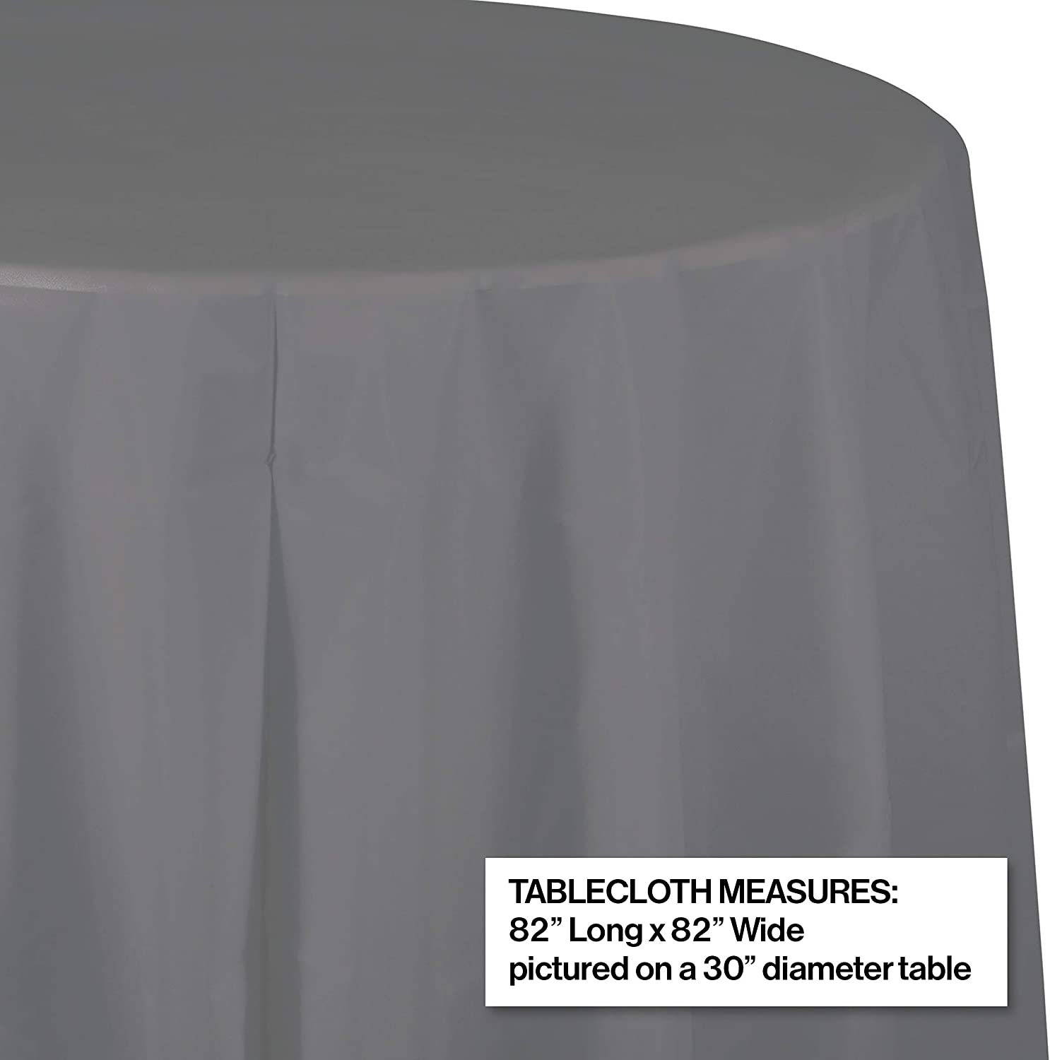 Creative Converting 339644 Glamour Gray Round Plastic Tablecloth 82 in 1 ct