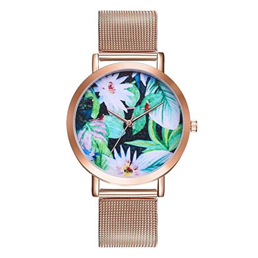 Reloj Mujer Relojes,QINGXIA_ZI Acero Inoxidable Oro Rosa Analógicos Cuarzo Blanco Impermeable Strass Purpurina Elegante: Amazon.es: Relojes