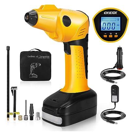 CKIECK Battery and 12V DC Portable Air Compressor Pump, Digital LCD Pressure Gauge Pump,
